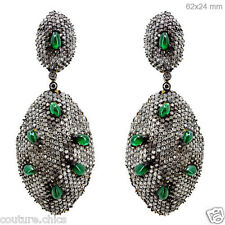 14k Gold Emerald Gemstone Fine Dangle Earrings Diamond Pave .925 Sterling Silver