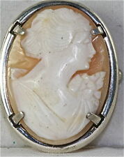 Vintage Antique Sterling Silver Cameo Pin Italy