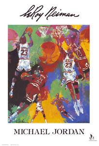 Michael Jordan by Leroy Neiman Art Print Chicago Bulls Basketball Poster 24x36
