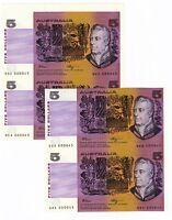 Australia $5 Fraser Higgins ND 1990 R. 212 Uncut Sheets Same Low # 000045 SCARCE