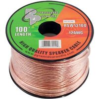 NEW Pyramid RSW12100 12 Gauge 100 ft. Spool of High Quality Speaker Zip Wire