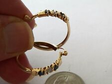 "CCC 10K YELLOW GOLD 1"" DIAMETER DIAMOND SAPPHIRE HOOP EARRINGS"
