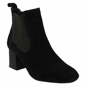 F5R0657 LEATHER COLLECTION LADIES PULL ON BLACK SUEDE HEELED WINTER ANKLE BOOTS