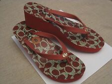 Coach Linley Women's Wedge Flip Flops Sandals Shoes Size 8 Red NWOB *Free Ship*