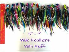"Feather Hair Extensions Wide Accent Feathers Variety Pack 5""-7"" (12.7-17.78cm)"