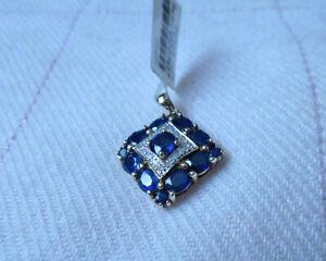 9K Blue Sapphire & Diamond Gold Pendant