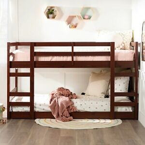 Twin Solid Pine Low Bunk Bed Bedsloft Full Bunks with Mattresses Wooden Bunk Bed