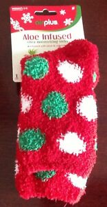 NWT, Women's Airplus aloe infused super soft socks, 1pair, red/green/white, 5-11