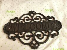 Beautiful Made Cast Iron Victorian Scroll Welcome plaque Very Solid