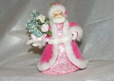 """OLD WORLD CHRISTMAS SANTA TOPPER Ornament for small TREE 4.5"""" TOP HOT PINK GIFT"""
