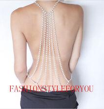 Fashion Style PE01 Women White Imitation Pearls Body Chains Jewelry