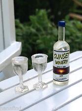 Miniature Dollhouse FAIRY GARDEN ~ TINY White Wine Bottle & 2 Wine Glasses