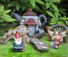 Fairy Garden Miniatures Kit Gnome Cottage House Bridge Decor Accessories Set Lot