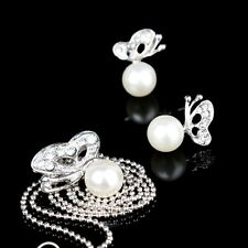 New Useful Rhinestone Butterfly Imitated Pearl Earrings And Necklace Jewelry Set