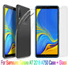 For Samsung Galaxy A7 2018 A750 Case Slim Gel Cover + Glass Screen Protector Sy