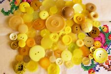 75 vintage/modern buttons in shades of yellow for cardmaking,weddings