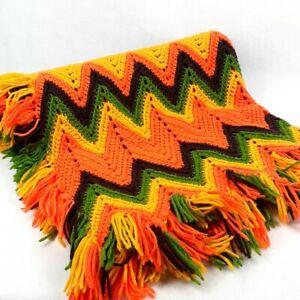 Vintage Crochet Afghan Granny Blanket Throw Chevron 36 x 66 Fringe Multi-Color