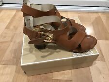 Mickael Kors Brown Leather Block Heel Sandals, US 10