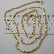 18k Yellow Gold Chain Necklace Braid Rope 23.62 Inches Long Made in Italy