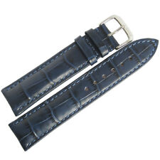 19mm RIOS Mens Louisiana Blue Alligator Grain Leather German Watch Band Strap