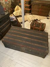 Antique Early Damier Check French Trunk From Paris France Maker Unknown