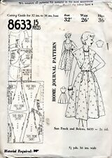 Vintage Home Journal Pattern 8633 Square Neckline Sun Frock and Bolero Bust 32
