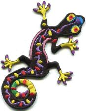 Lizard gekko salamander hippie black embroidered applique iron-on patch S-1563