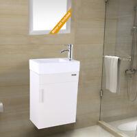 "19"" Bathroom Vanity Wall Mount W/ White Ceramic Sink Faucet Drain Combo White"