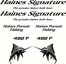 Haines Signature Haines Pursuit Fishing 492 F Boat Sticker Decal 8 Piece Set