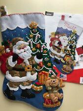"Bucilla~  18 "" Felt  Christmas Stocking,~Handmade,Finished ~""CAMO SANTA"""