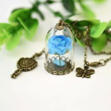 Beauty and the Beast Real Rose Dried Glass Flower Bottle Chain Necklace Pendant