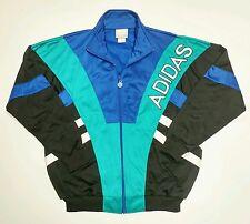 Adidas TreFoil Track Jacket Vintage 80s 90s Big Logo Blue White Teal Vtg Rap