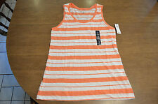 NWT Women's GAP Orange and White Stripe Tank Top Size Medium (M)