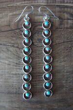 Zuni Indian Sterling Silver Turquoise Bar Dangle Earrings
