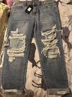 High Rise Jeans ?Jax Distressed? FashionNova, Light Blue Wash (Size 12 UK) NEW