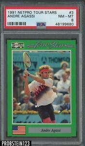 1991 Netpro Tour Stars Tennis #3 Andre Agassi RC Rookie PSA 8 NM-MT