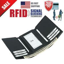 RFID Blocking Men's Trifold Carbon Fiber Leather ID Credit Card Cash Safe Wallet