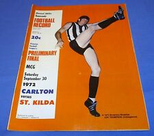 1972 Preliminary Final AFL VFL Football Footy Record Carlton V St Kilda Souvenir