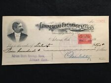 1899 COMMERCIAL EXCHANGE BANK ADRIAN, MICH. BANK CHECK DOCUMENTARY R164 STAMP!