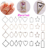 HOT 8Pcs Jewelry Making Diy Craft Necklace Hollow Geometric Pendant Frame Resin