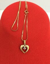 "Vtg.14K Solid Gold and Diamond Open Heart Pendant 16""chain Necklace 2.7 Grams"