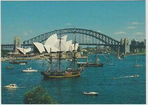 ENDEAVOUR REPLICA ON HARBOUR SYDNEY NSW MESSENT POSTCARD