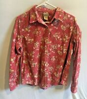 Women's L.L. Bean Pink Rose Floral Top Size Large Cotton Button Front Corduroy