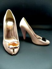 KG Kurt Geiger Satin Peep Toe High Heel Shoes UK 3/EUR 36 Wedding Nude colour