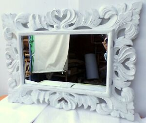 Mirror Baroque Wooden Inlaid CMS 80x60 White Antiqued Model Nowa Frame