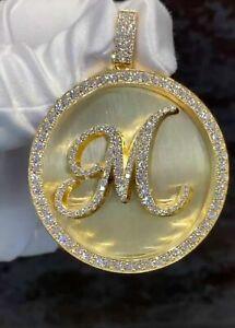 14k Yellow Gold Plated Men's 1.00 ct Round VVS1 Diamond Custom Initial M Pendant