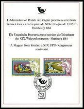 UNGARN UPU CONGRESS 1984 DELEGIERTEN-GESCHENK MINISTRY GIFT RARE !!! z1690