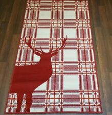 Modern Approx 5x2ft6 80x150cm Woven Top Quality Stag checks Red/Cream Rugs/Mats