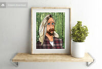 Hipster Mustache WallArt Digital Illustration Character Sketch Download 4x4