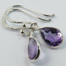 FINE EDH 925 Solid Sterling Silver Fabulous Earrings Natural AMETHYST Gemstones